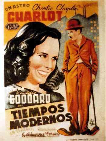 carteleta de Tiempos Modernos de Chaplin
