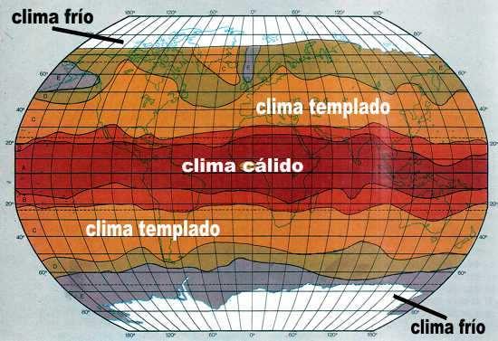 climas del mundo: cálido, templado y frio polar