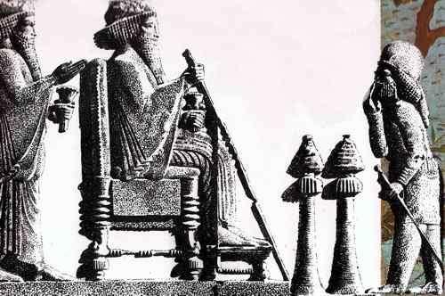 Rey Persa Darío en el Trono