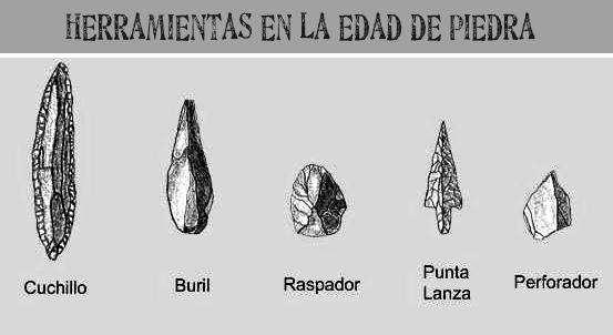 herramientas del hombre de la edad de piedra