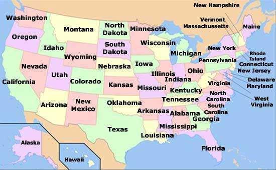 mapa politico de los ee.uu. de america
