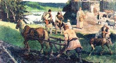 Eslavos trabajando la tierra