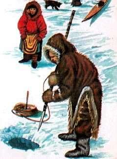 esquimal cazando con lanza