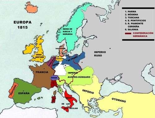 nuevo mapa politico de europa luego del congreso de Viena