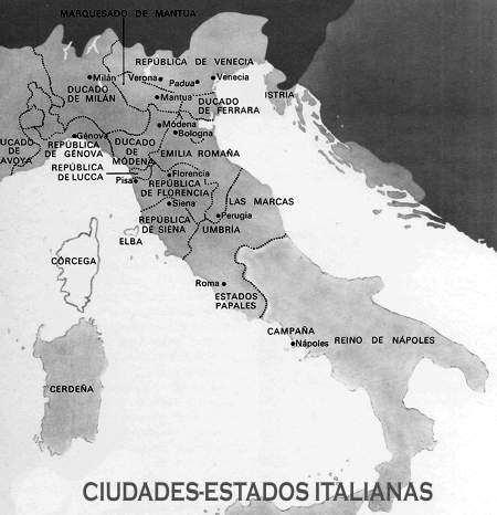 mapa de italia en el renacimiento