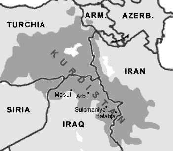mapa de kurdistán