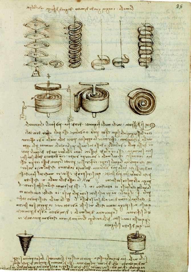 hoja de un apunte de Leonardo Da Vinci de sus proyectos