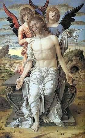 Obra de Mantegna, Cristo Sostenido por Ángeles