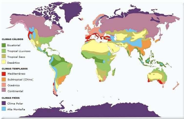 Climas del Mundo Mapa Distribucin Zonas Climticas Frio Calido
