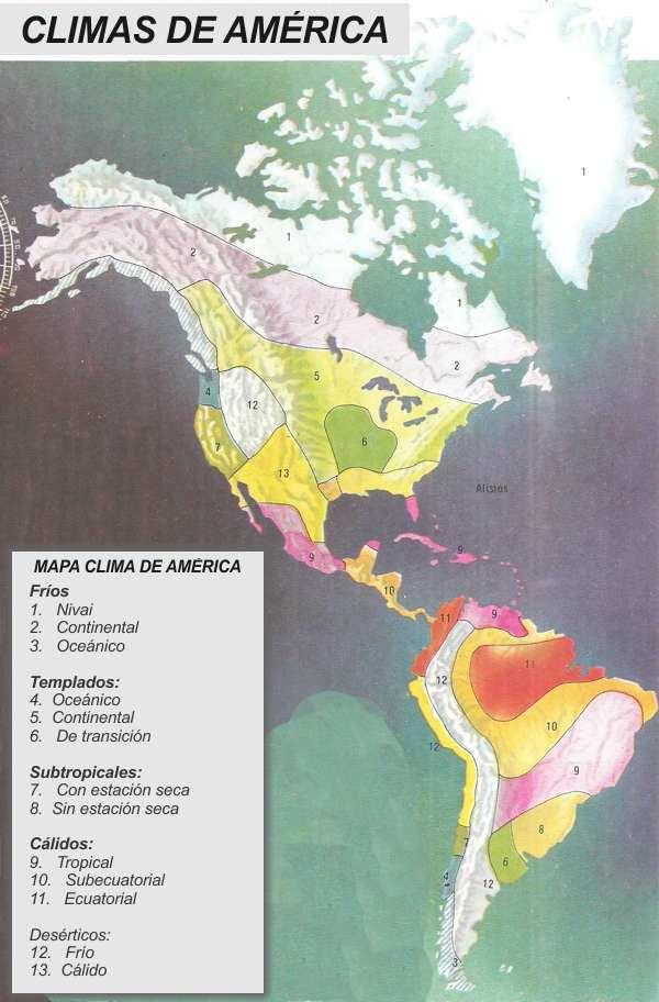 mapa de climas de america