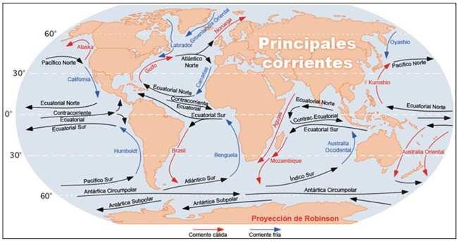 mapa de corrientes marinas
