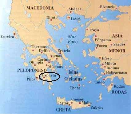 Mapa de Esparta en la antigua grecia