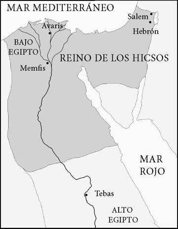 mapa territorio hicsos en egipto