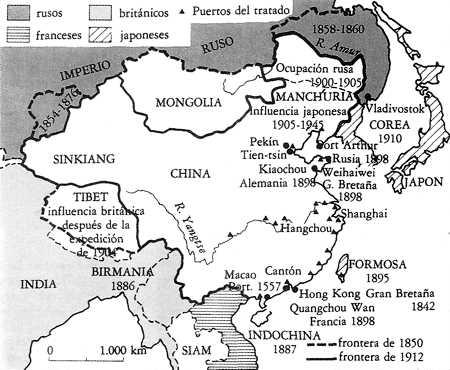 mapa de imperialismo europeo en china