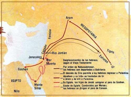 mapa del pueblo judio conducido por Moises