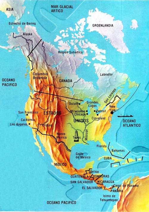 mapa regiones de norteamerica