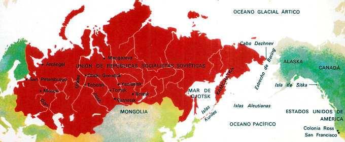 mapa de la expansion de los zares rusos