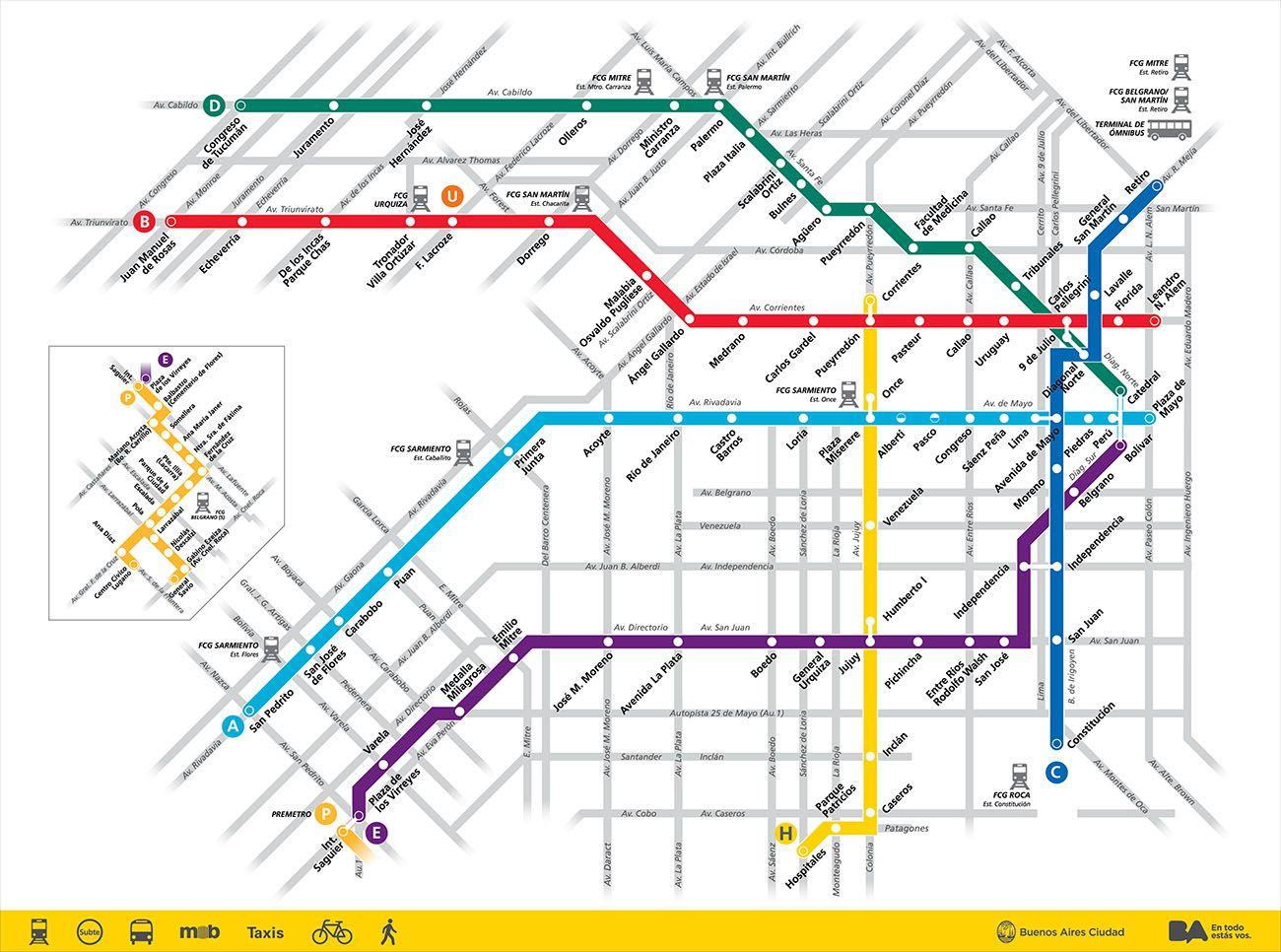 mapa de subterraneo de capital federal (buenos aires)