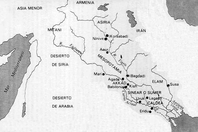 mapa imperio sumerio acadio