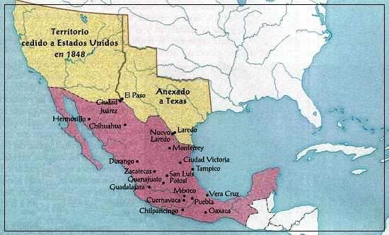 Mapa del Territorio Perdido Por México