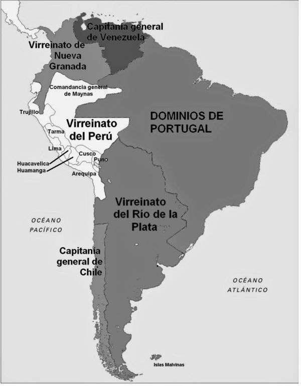 mapa virreinatos en america