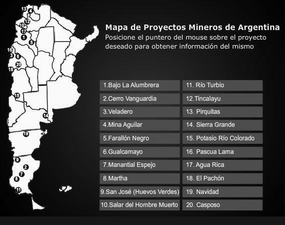 mapa de proyectos mineros