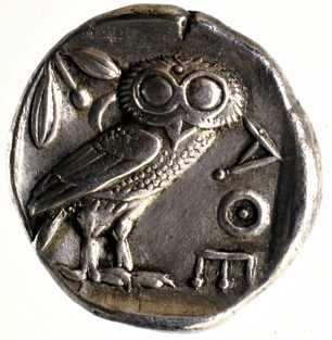 moneda griega lechuza de plata