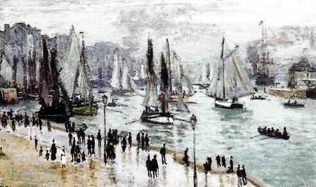 Obra de Monet Barcos Zarpando del Muelle de Havre