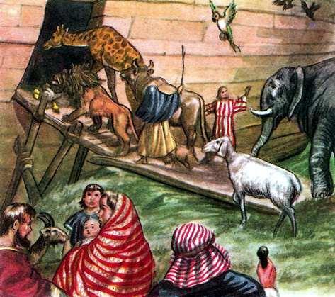 el arca de noe suben animales