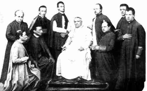 Papa Pío IX y sus cardenales