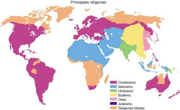 mapa de religiones del mundo
