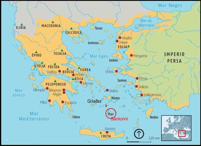 ubicacion de santorini