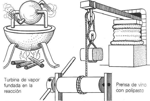 tecnicas antiguas turbina de vapor prensa y poleas