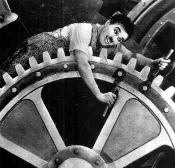 pasaje de Tiempos Modernos de Chaplin
