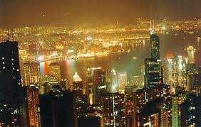Edificios y Vista Nocturna de una Ciudad Asiática