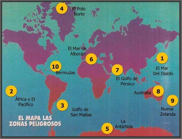 mapa de regiones donde desaparecen barcos y aviones