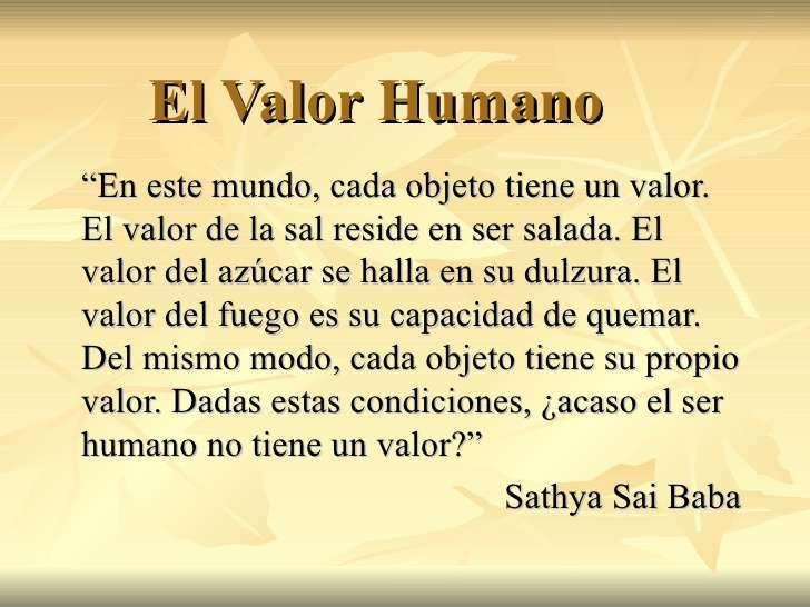 frase sobre el valor humano