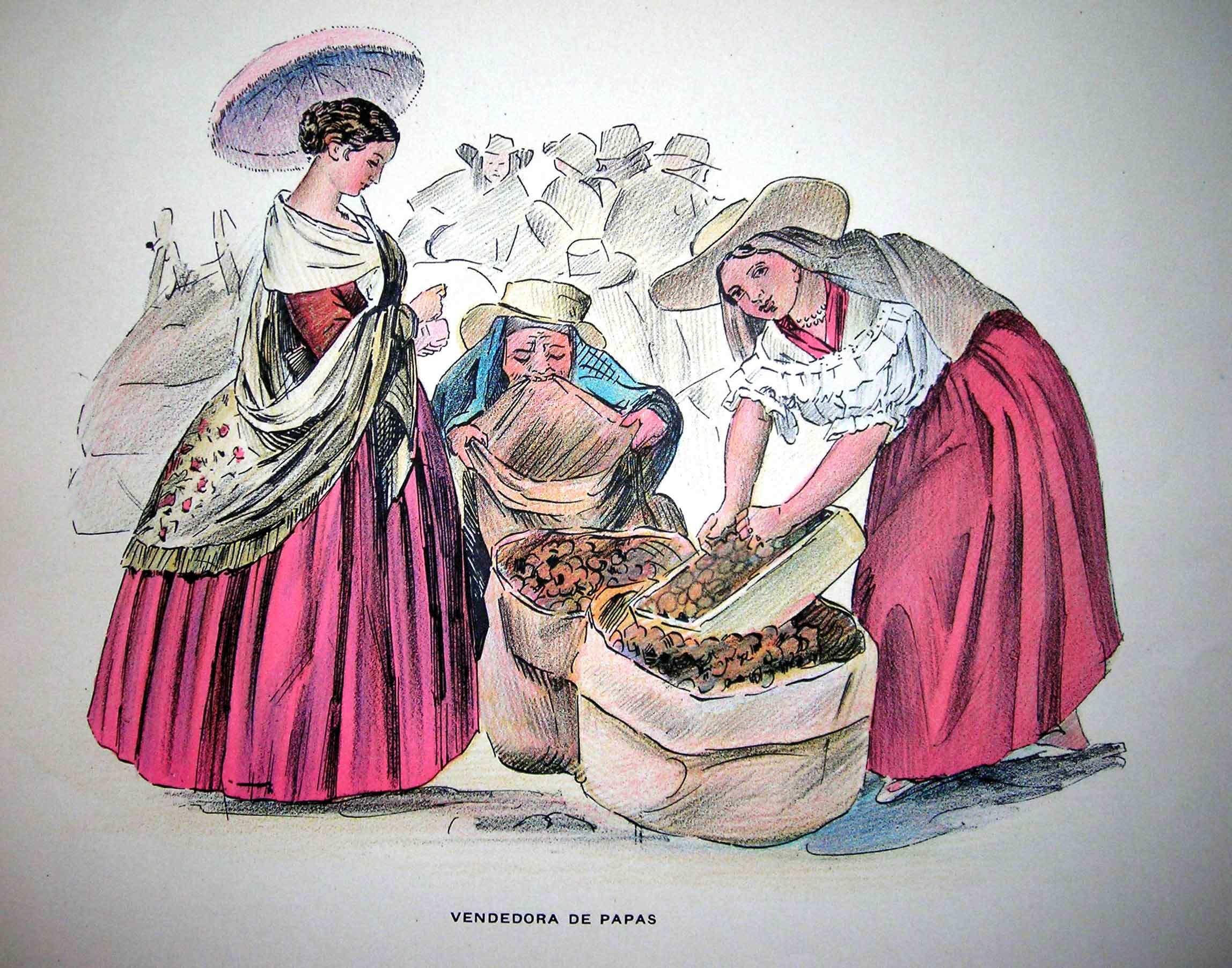 vendedoras de papa en la etapa colonial