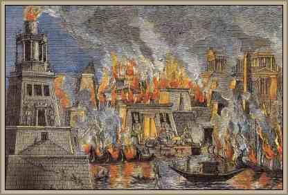 incendio de la biblioteca de alejandria