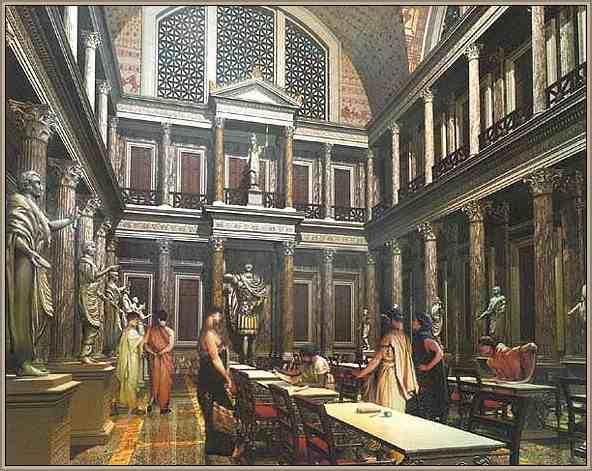 interior de la biblioteca de Ulpia en Roma antigua