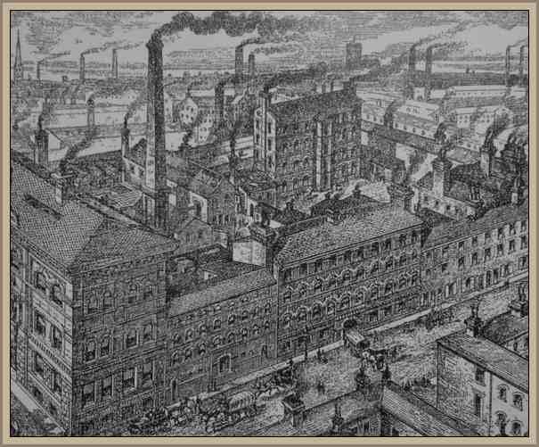 primeras fabrica con sus chimeneas siglo xviii
