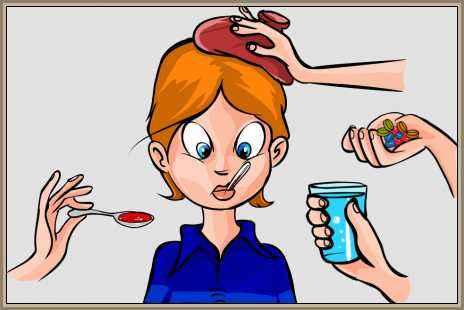 ataque de gripe, fiebre y dolores