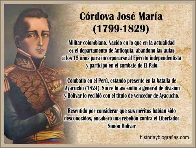 Biografia de Cordova Jose María Heroe de la Independencia