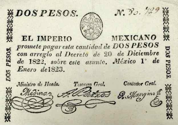 antiguo billete mexicado siglo xix