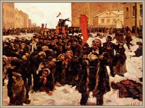 manifestacion obrera en rusia el domingo rojo