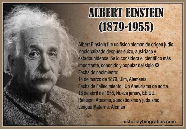 Biografia de Einstein Albert Obra Cientifica y Vida