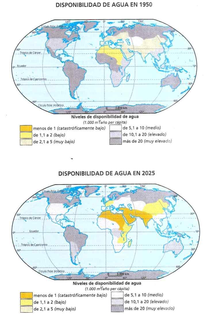 mapa de escasez de agua dulce