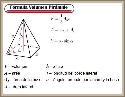formula volumen piramide