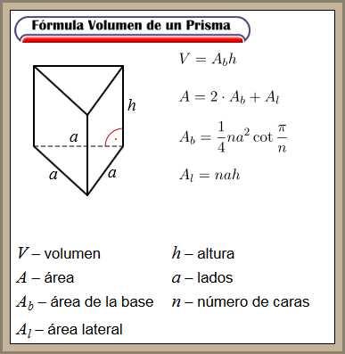 formula volumen prisma
