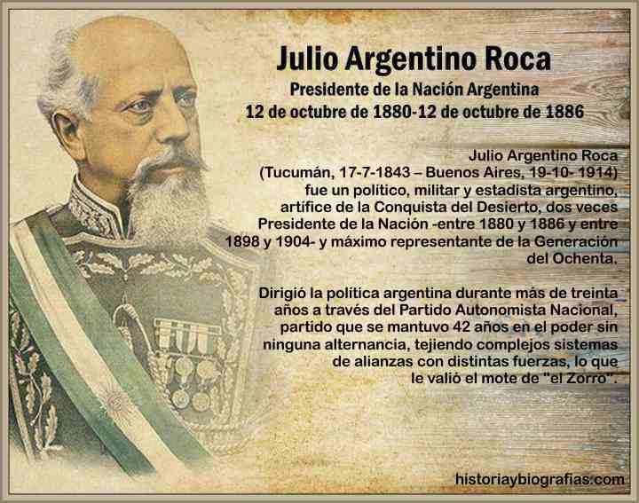Julio Argentino Roca Presidente de Argentina